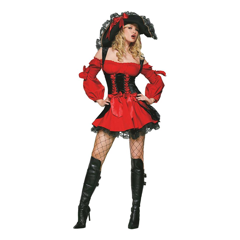 Piratklänning Röd/Svart Deluxe Maskeraddräkt - Small