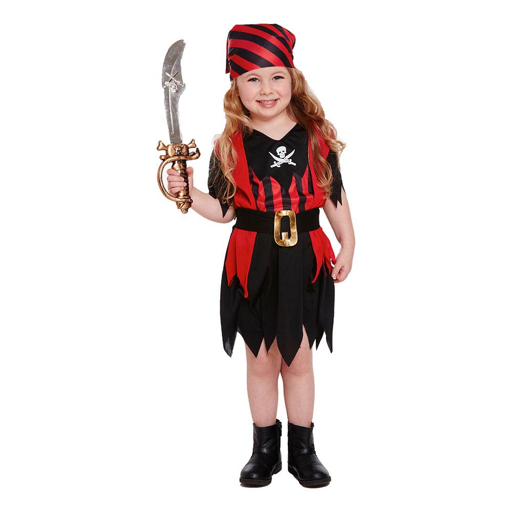 Piratklänning Röd/Svart Barn Maskeraddräkt - One size
