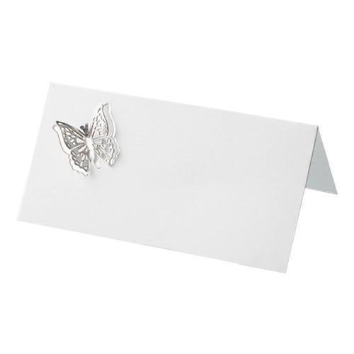 Placeringskort 3D Fjäril Silver - 10-pack