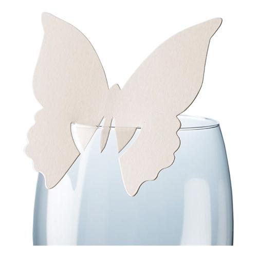 Placeringskort för Glas Fjäril Elfenbensvit - 10-pack