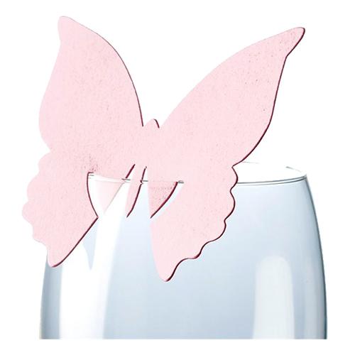 Placeringskort för Glas Fjäril Ljusrosa - 10-pack