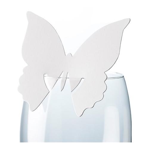 Placeringskort för Glas Fjäril Vita - 10-pack