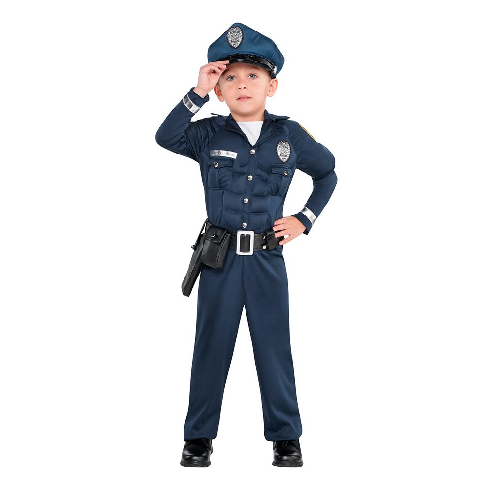 Polis med Muskler Barn Maskeraddräkt - Small
