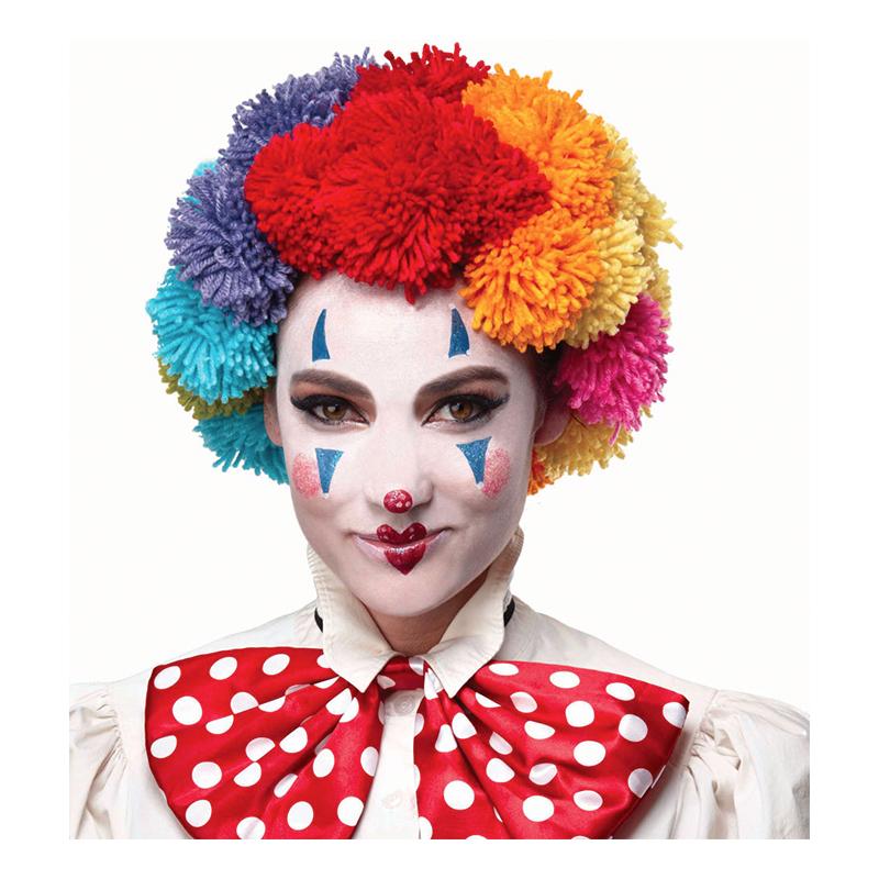 Pom Pom Clown Flerfärgad Peruk - One size