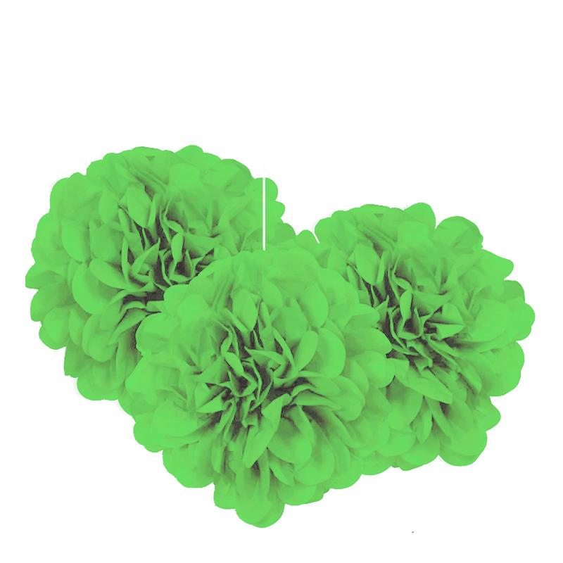 Pom Pom Mini Limegröna Hängande Dekoration - 3-pack