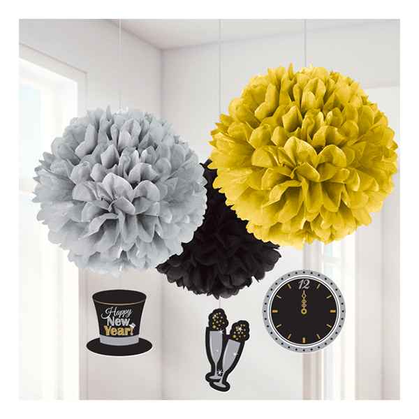 Pom Poms Happy New Year - 3-pack