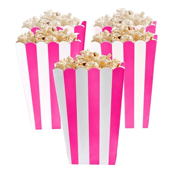 Popcornbägare Neonrosa Randiga - 5-pack