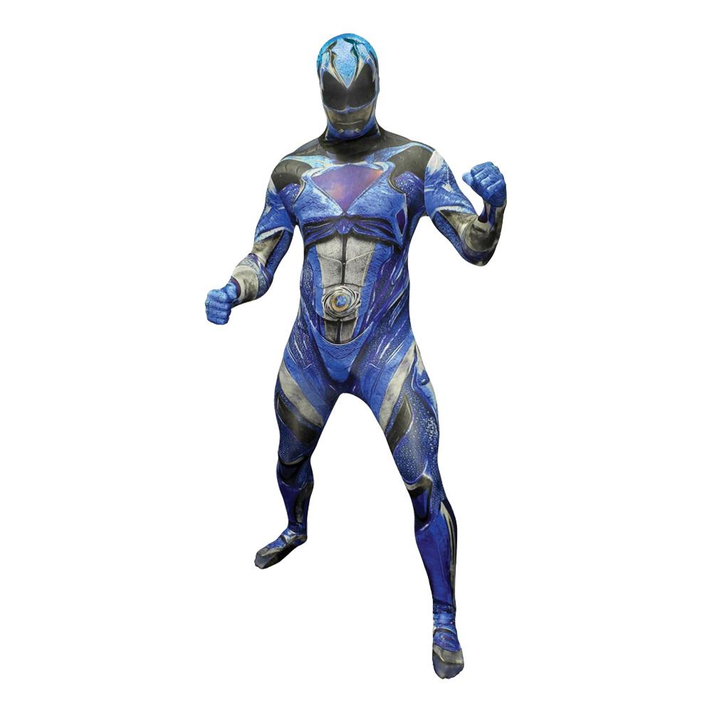 Power Ranger Blå Deluxe Morphsuit Maskeraddräkt - Large