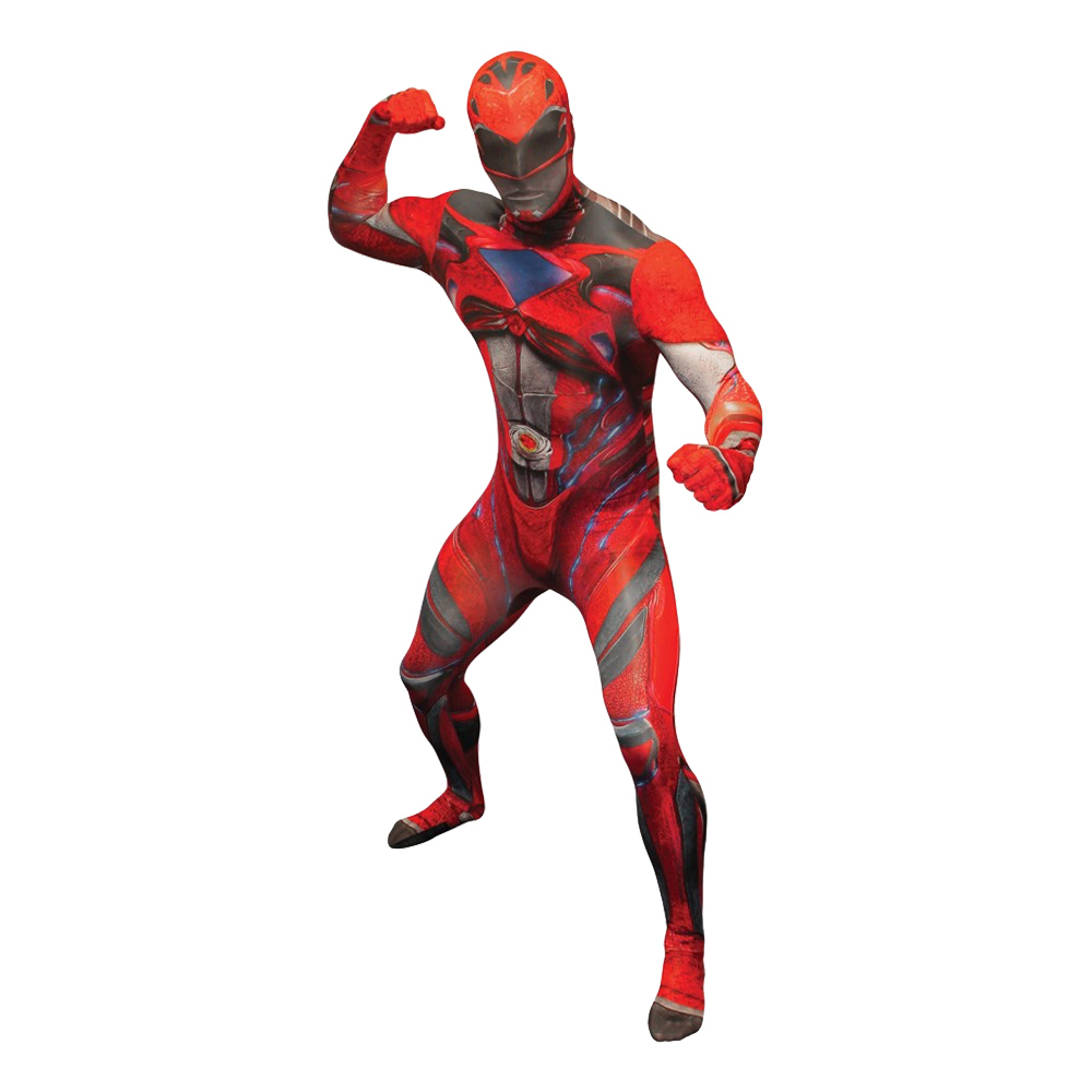 Power Ranger Röd Deluxe Morphsuit Maskeraddräkt - Large