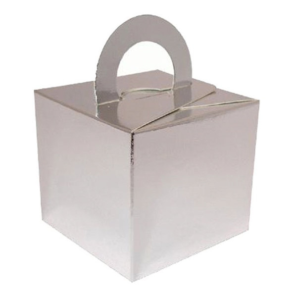 Ballongvikt Presentbox av Papp Silver - 10-pack