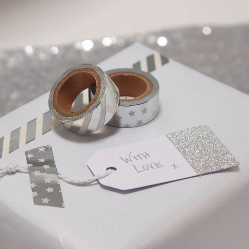Presentetiketter Silver Glitter - 10-pack