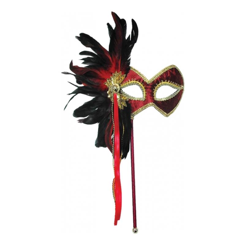 Röd/Guld Mask med Fjädrar - One size