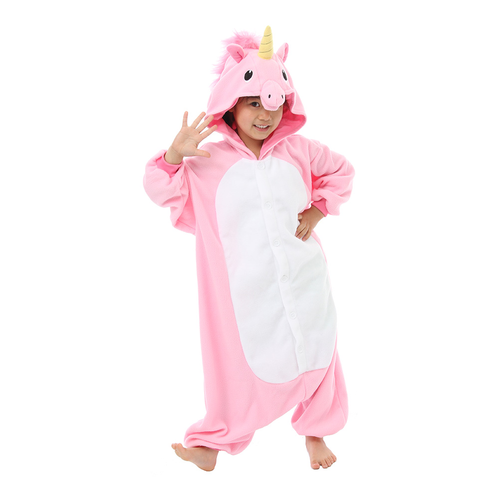 Rosa Enhörning Barn Kigurumi - Medium