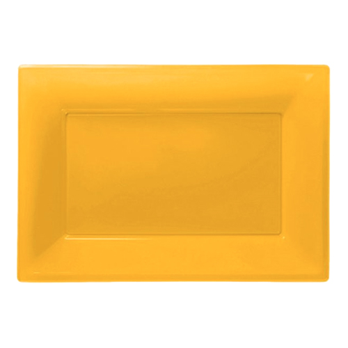 Serveringsfat i Plast Rektangel Gul - 3-pack