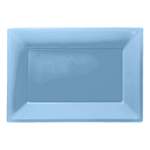 Serveringsfat i Plast Rektangel Ljusblå - 3-pack