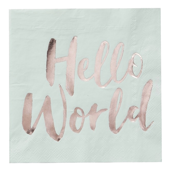 Servetter Hello World Mint/Roséguld - 20-pack