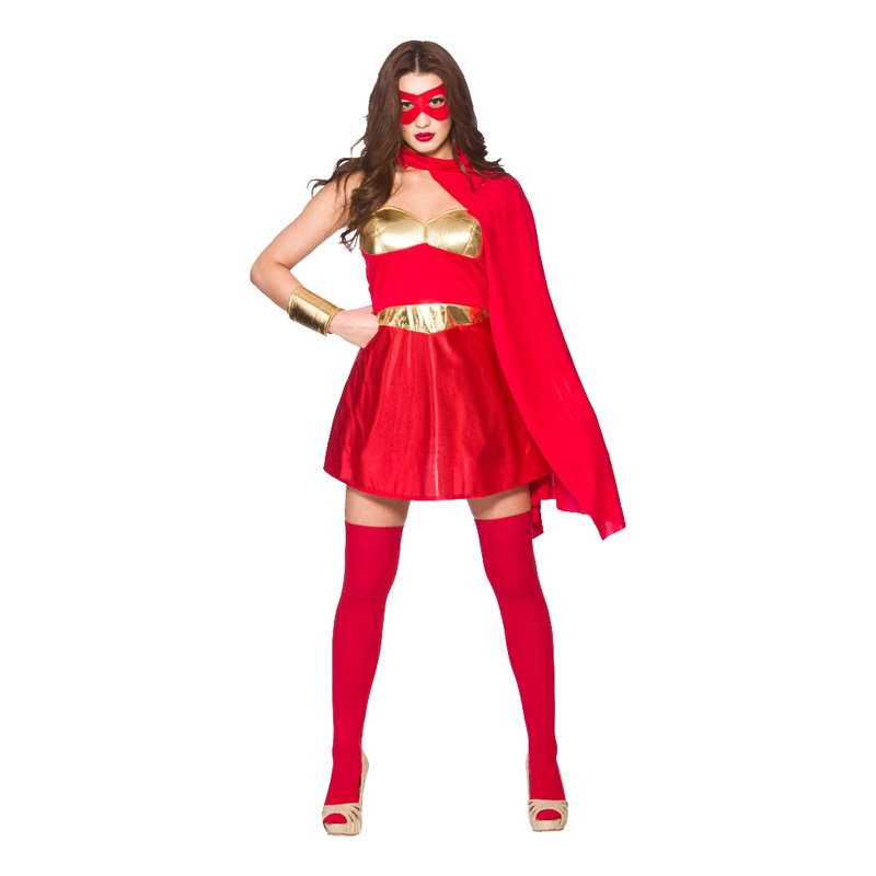 Superhjältinna Röd Maskeraddräkt - X-Small