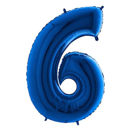 Sifferballong Blå Metallic - Siffra 6