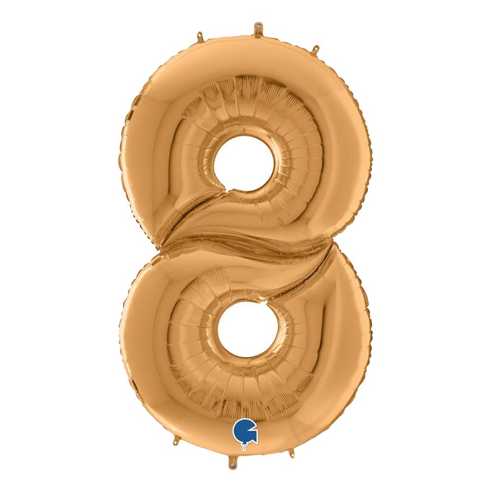 Sifferballong Guld Gigantisk - Siffra 8