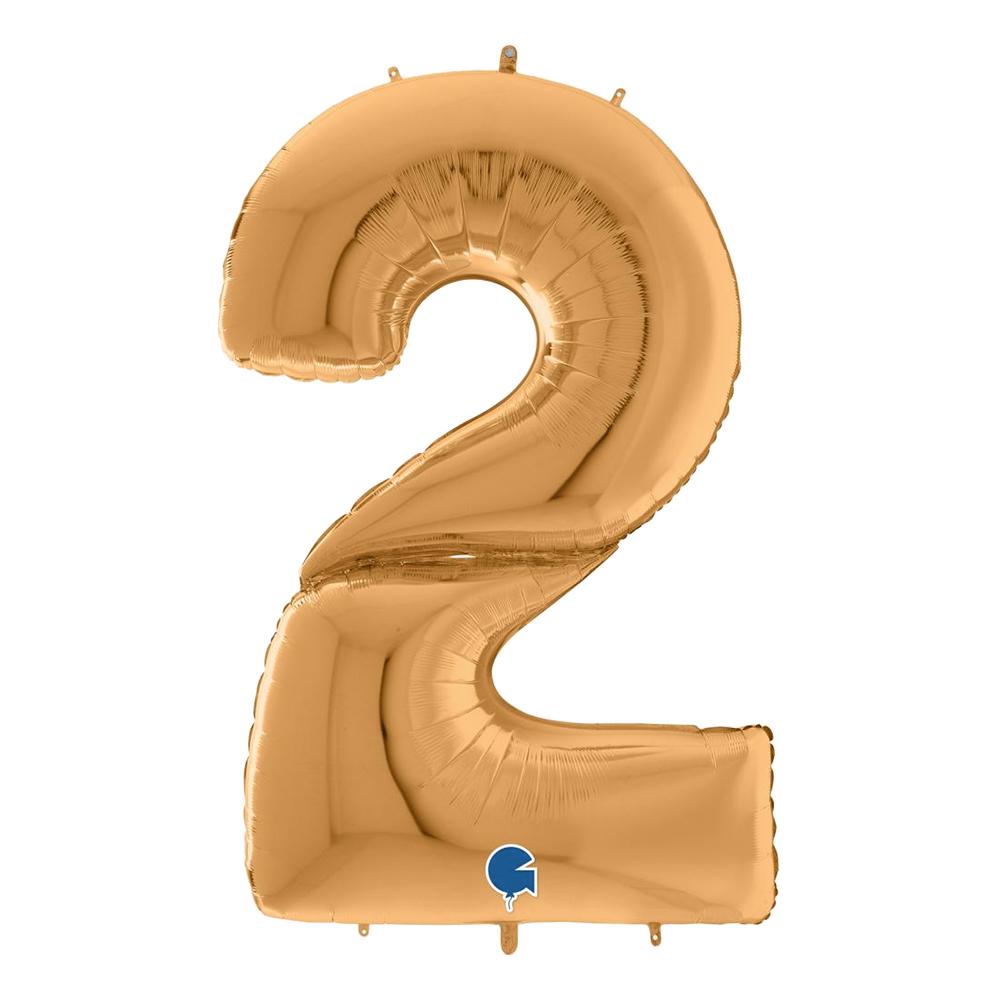 Sifferballong Guld Gigantisk - Siffra 2