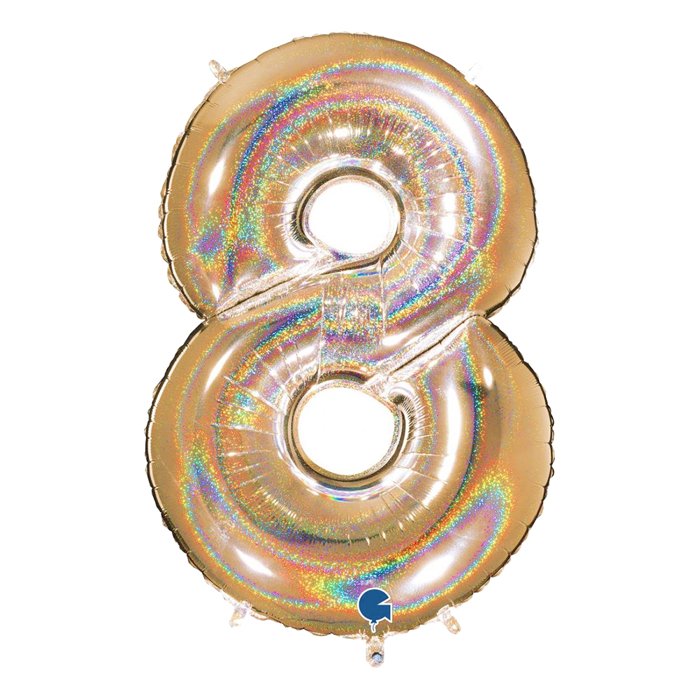 Sifferballong Guld Glitter - Siffra 8