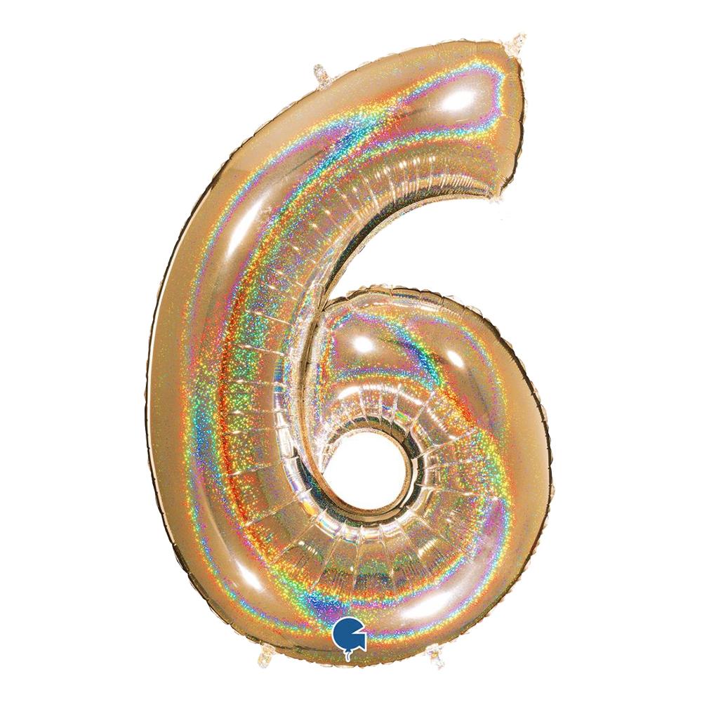 Sifferballong Guld Glitter - Siffra 6