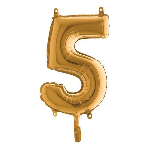 Sifferballong Mini Guld Metallic - Siffra 5