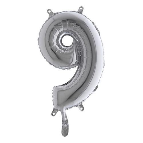 Sifferballong Mini Silver Metallic - Siffra 9