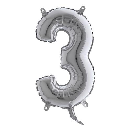 Sifferballong Mini Silver Metallic - Siffra 3