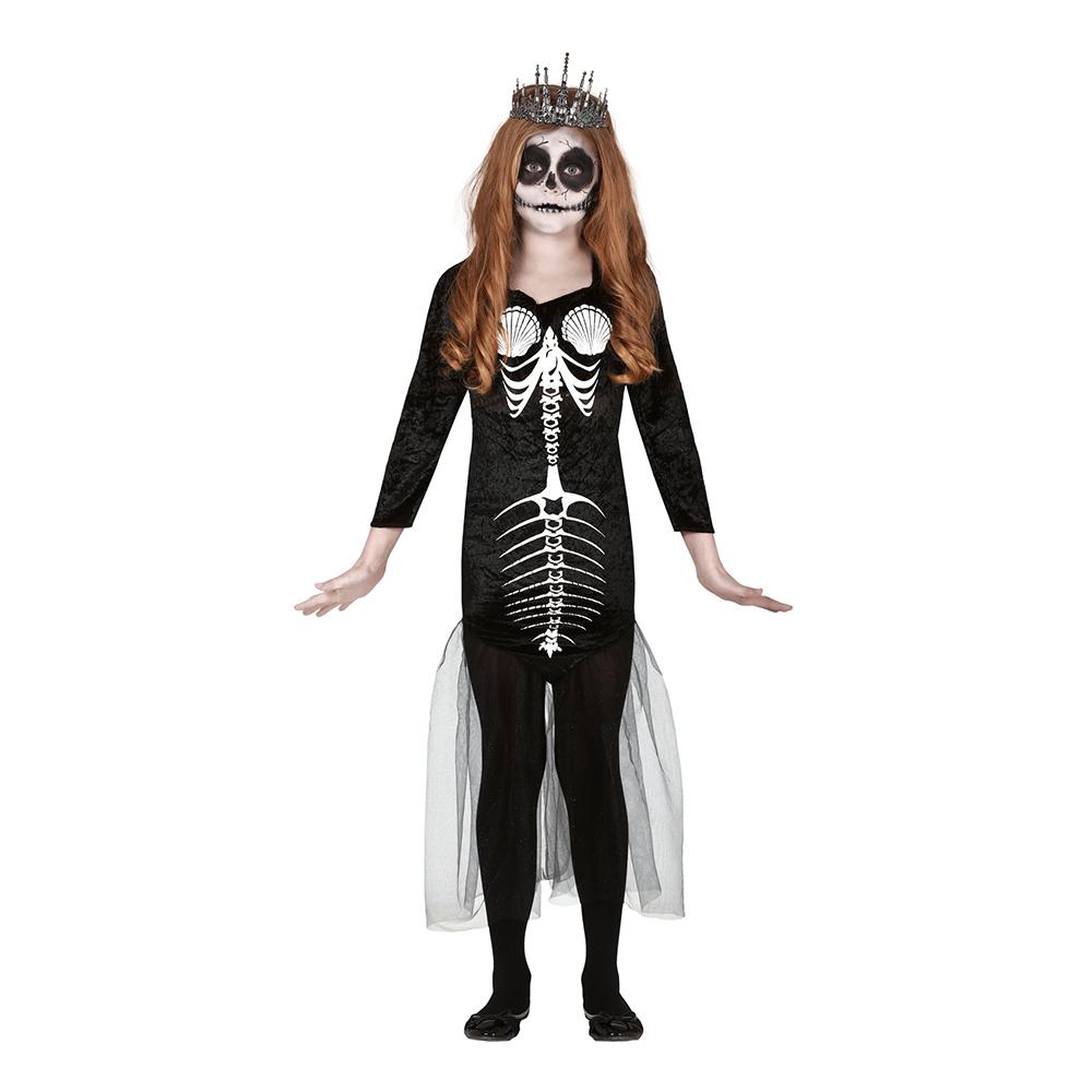 Sjöjungfru Skelett Barn Maskeraddräkt - 5-6 år