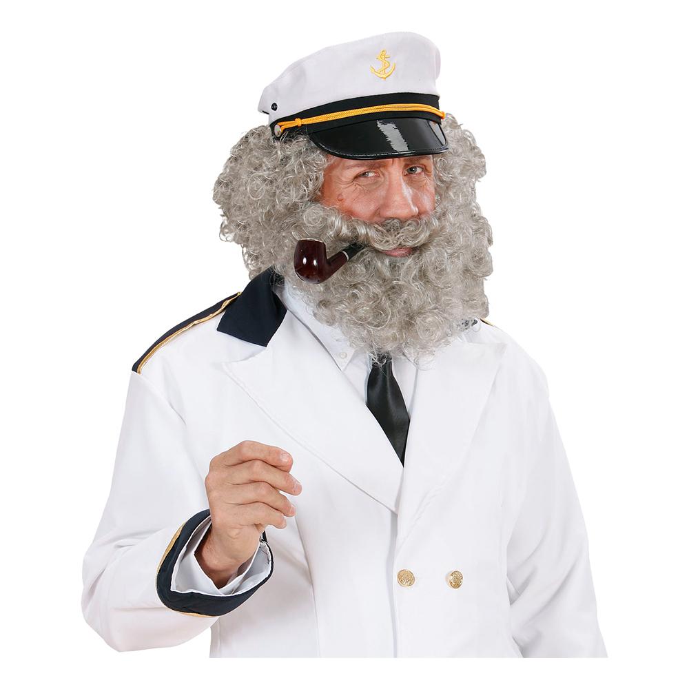 Sjökapten Peruk & Skägg Grå - One size