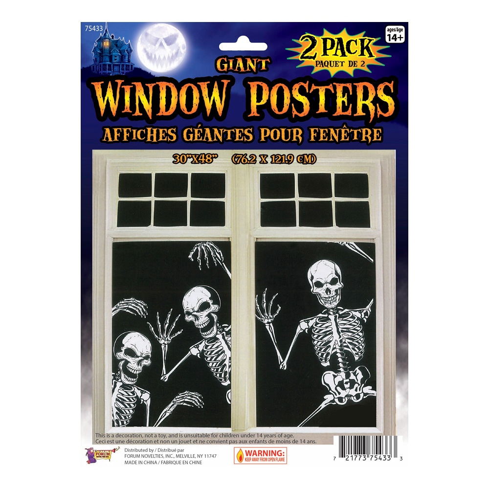 Skelett Fönsterposters - 2-pack