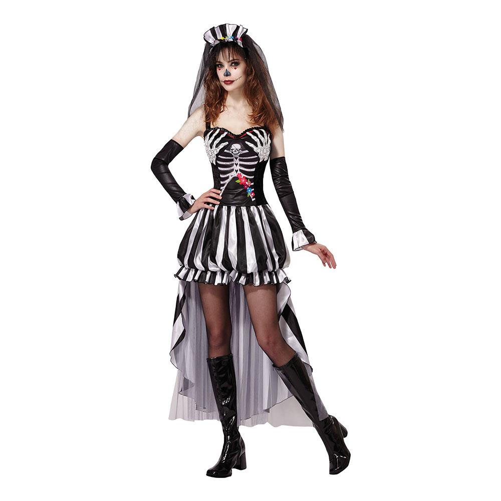 Skelettdrottning Maskeraddräkt - One size till partypris ... 8964b3c5ce8b1