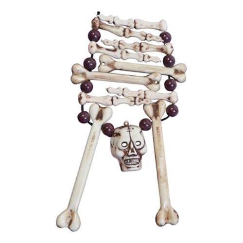 Skeletthalsband med Dödskalle
