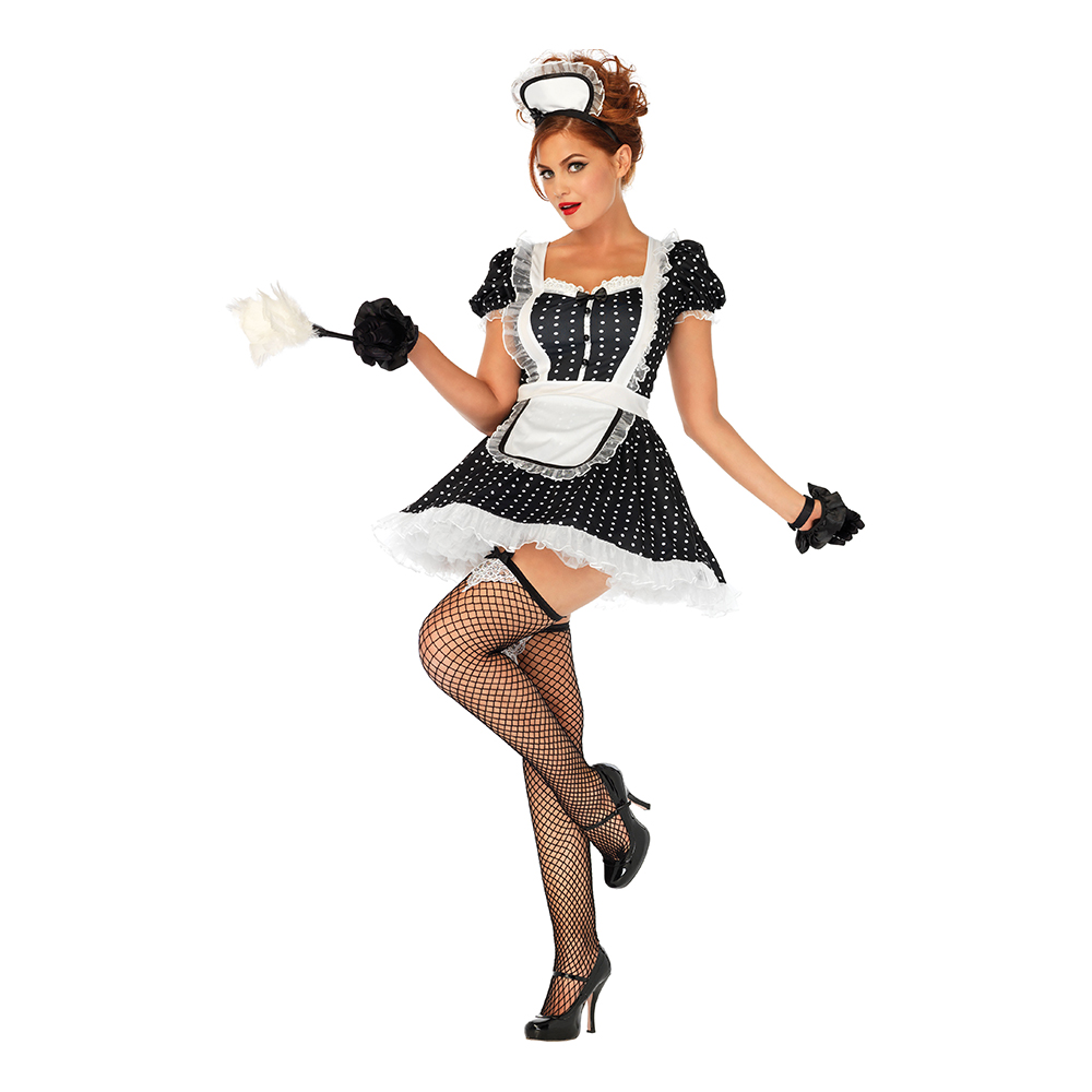 Söt French Maid Deluxe Maskeraddräkt - Small/Medium