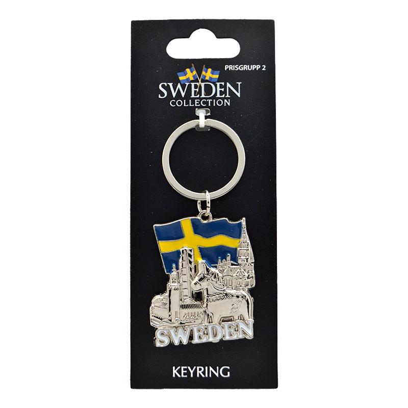 Souvenir Nyckelring Sweden Landmärken