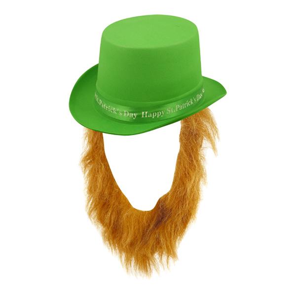 St Patricks Hatt med Skägg - One size