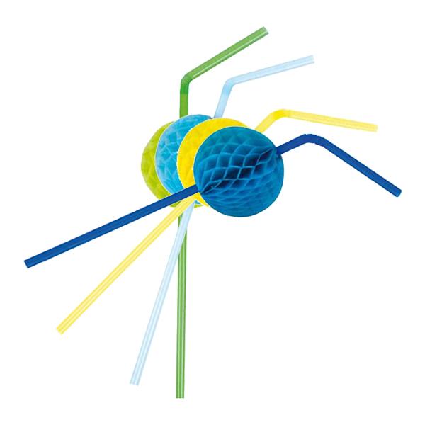 Sugrör Blå/Grön/Gul Honeycomb - 8-pack