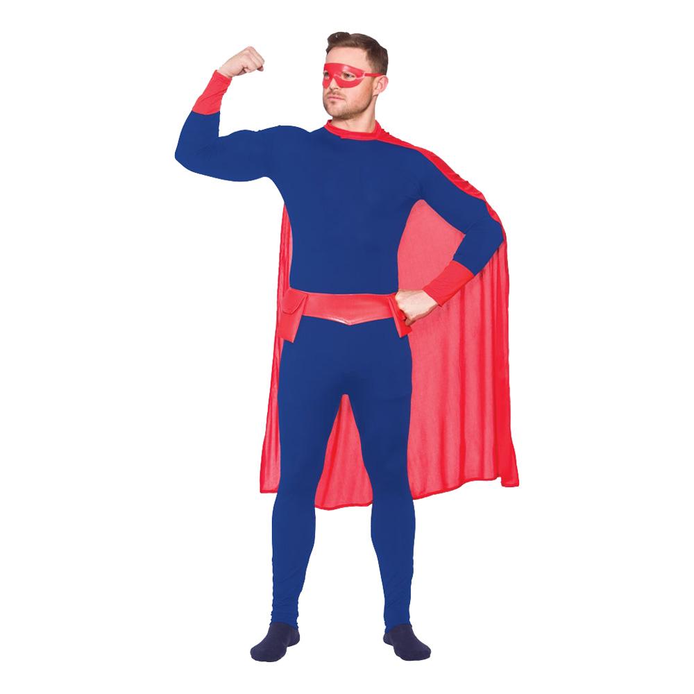 Superhjälte Blå/Röd Maskeraddräkt - Small