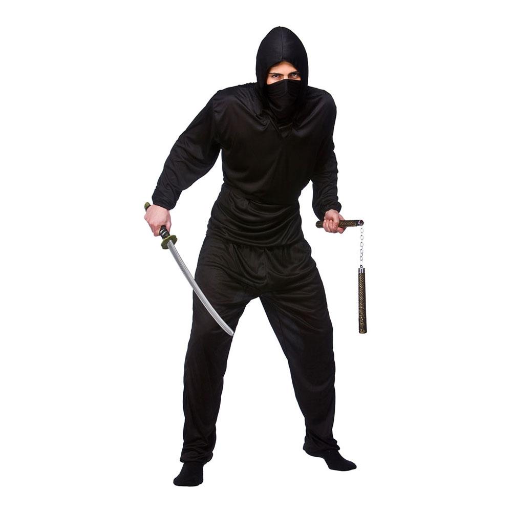 Svart Ninja Budget Maskeraddräkt - Small