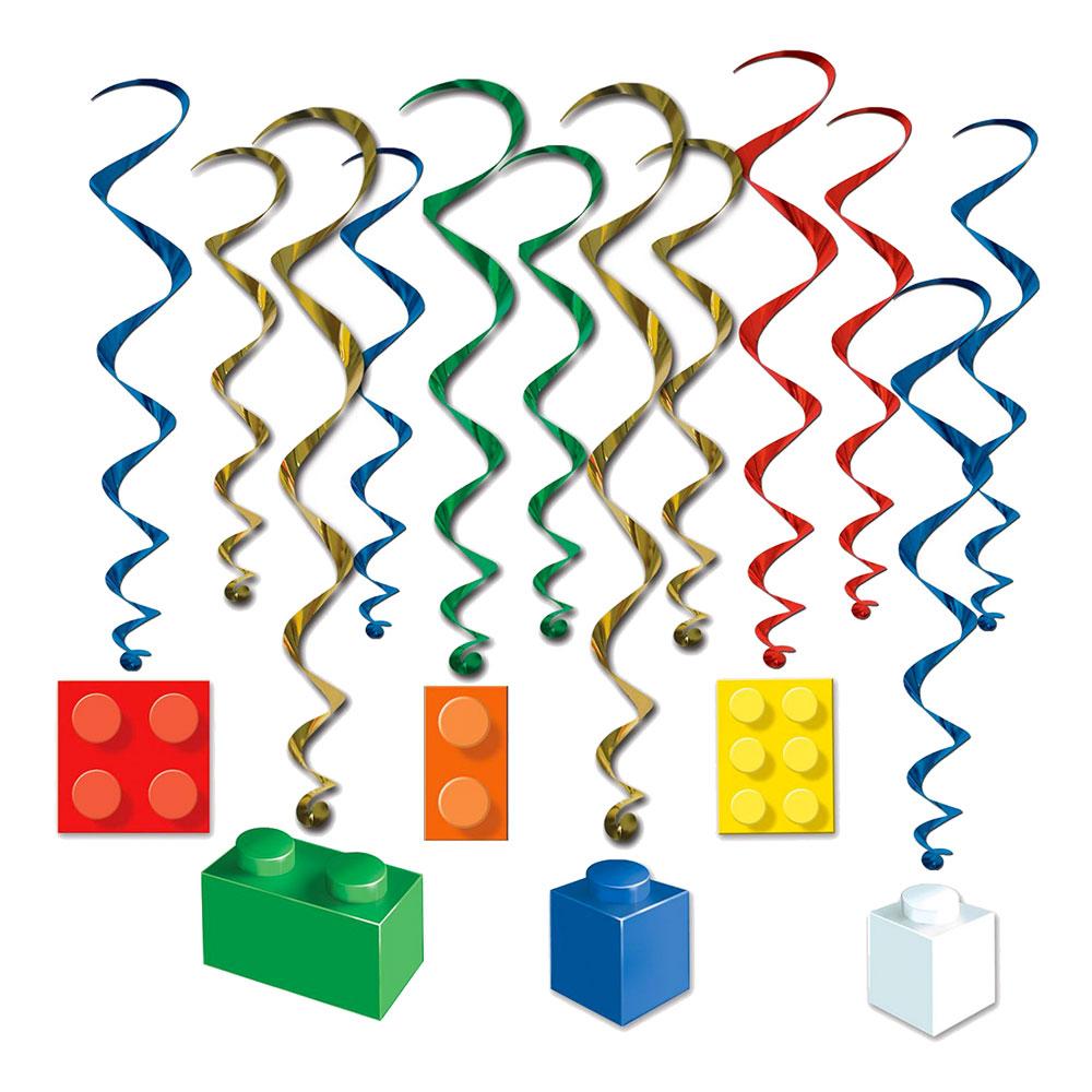 Swirls Byggklossar Hängande Dekoration - 12-pack