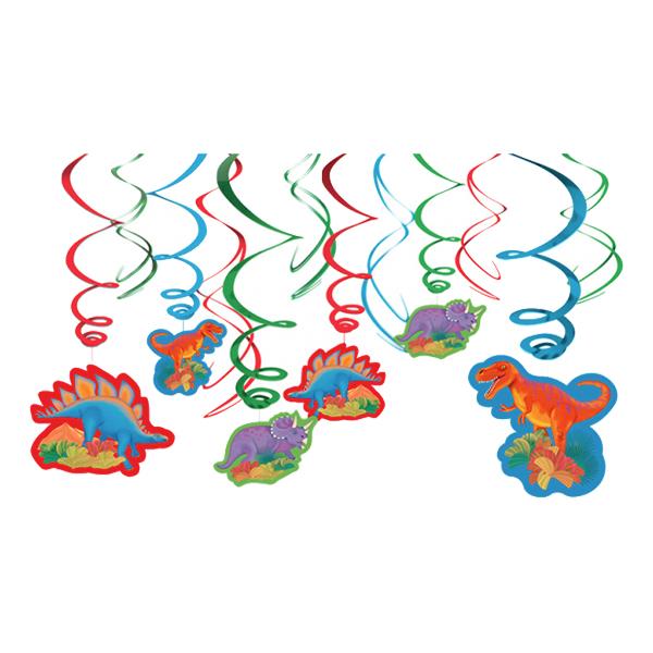 Swirls Dinosaurier Hängande Dekoration - 12-pack