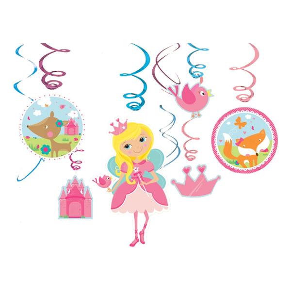 Swirls Prinsessa Sagoslott Hängande Dekoration - 12-pack