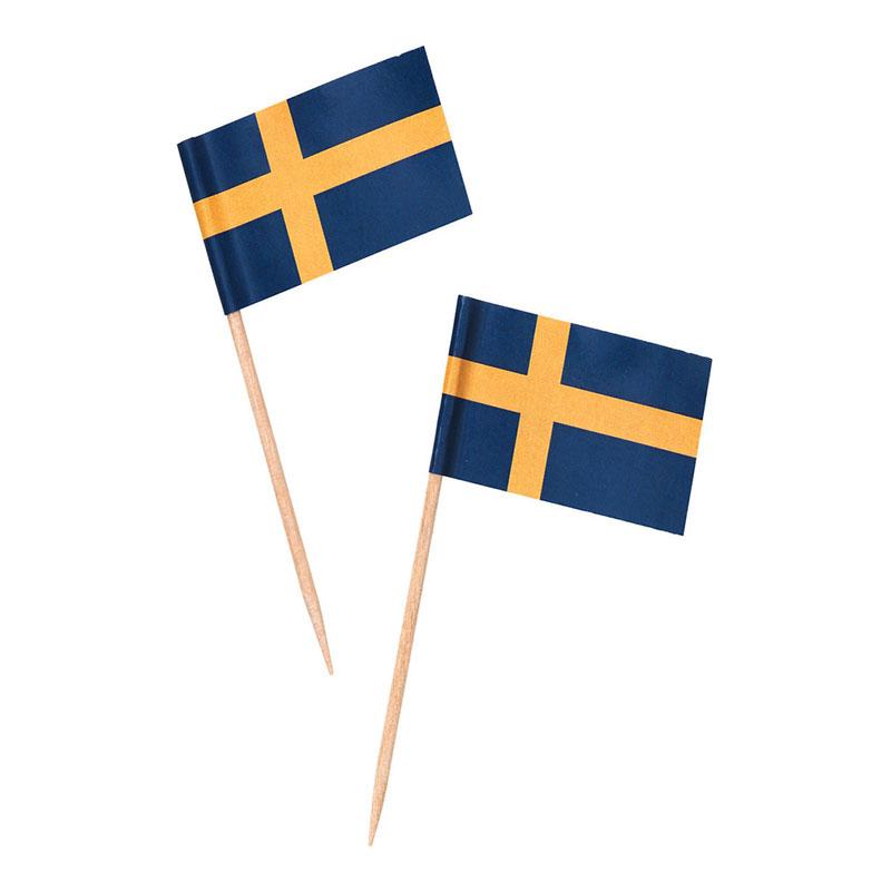 Partypicks Sverigeflaggor - 25-pack