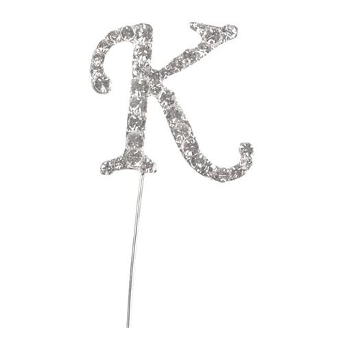 Tårtdekoration Bokstav Diamant i Metall - Bokstav K