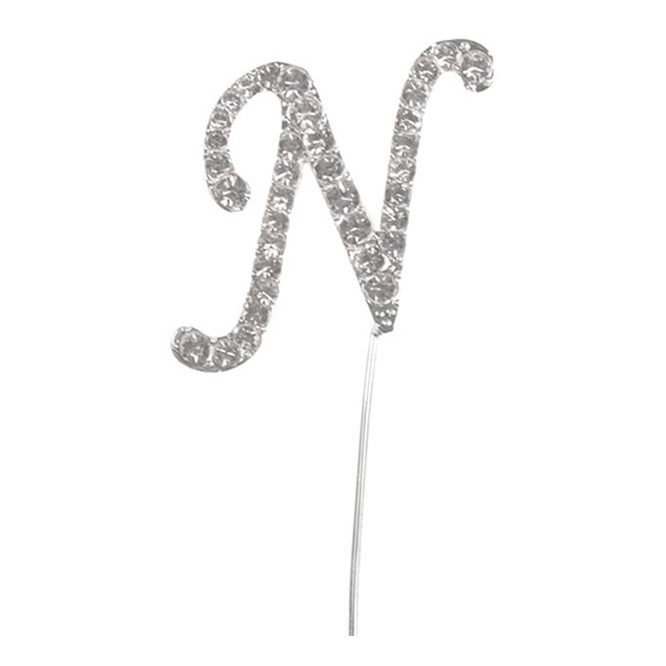 Tårtdekoration Bokstav Diamant i Metall - Bokstav N