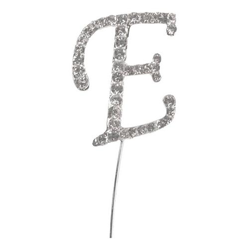 Tårtdekoration Bokstav Diamant i Metall - Bokstav E