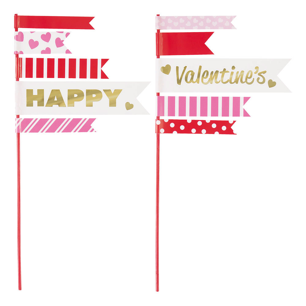 Tårtdekoration Happy Valentine's Day - 2-pack