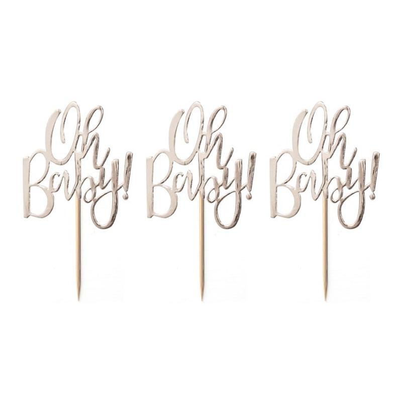 Tårtdekoration Oh Baby Guld Metallic - 12-pack