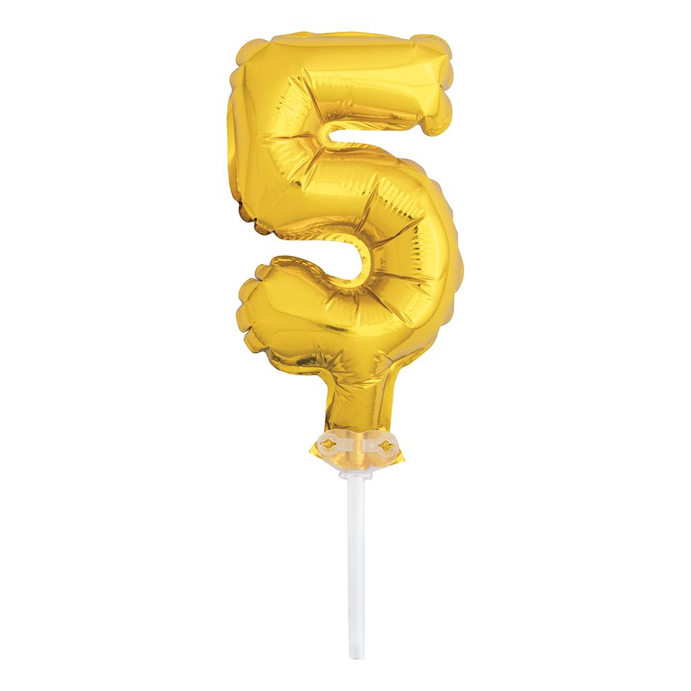 Tårtdekoration Sifferballong Mini Guld - Siffra 5
